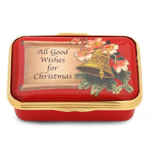 "Load image into Gallery viewer, Halcyon Days ""All Good Wishes for Christmas"" Enamel Box"
