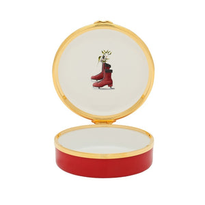 "Halcyon Days ""Christmas Ice Skater"" Enamel Box"