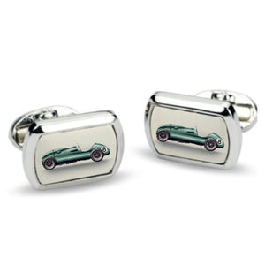 Halcyon Days Racing Car Rectangular Palladium Cufflinks