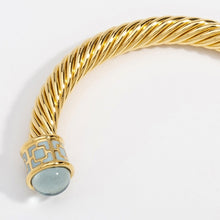 "Load image into Gallery viewer, Halcyon Days ""Maya Jewel Tone Torque - Aquamarine & Gold"" Bangle"