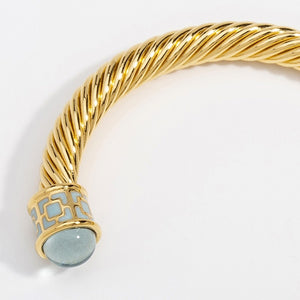 "Halcyon Days ""Maya Jewel Tone Torque - Aquamarine & Gold"" Bangle"