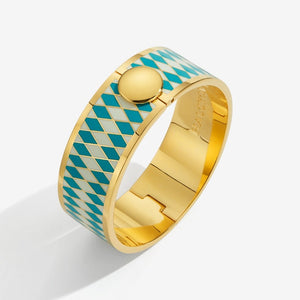 "Halcyon Days ""Parterre Turquoise Cream & Gold"" Bangle"