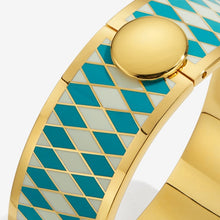 "Load image into Gallery viewer, Halcyon Days ""Parterre Turquoise Cream & Gold"" Bangle"
