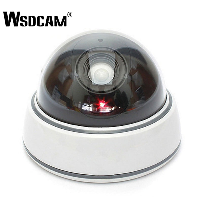 Wsdcam Home Family Outdoor CCTV Camera Fake Dummy Camera Surveillance Security Dome Mini Dummy Camera with LED Light White