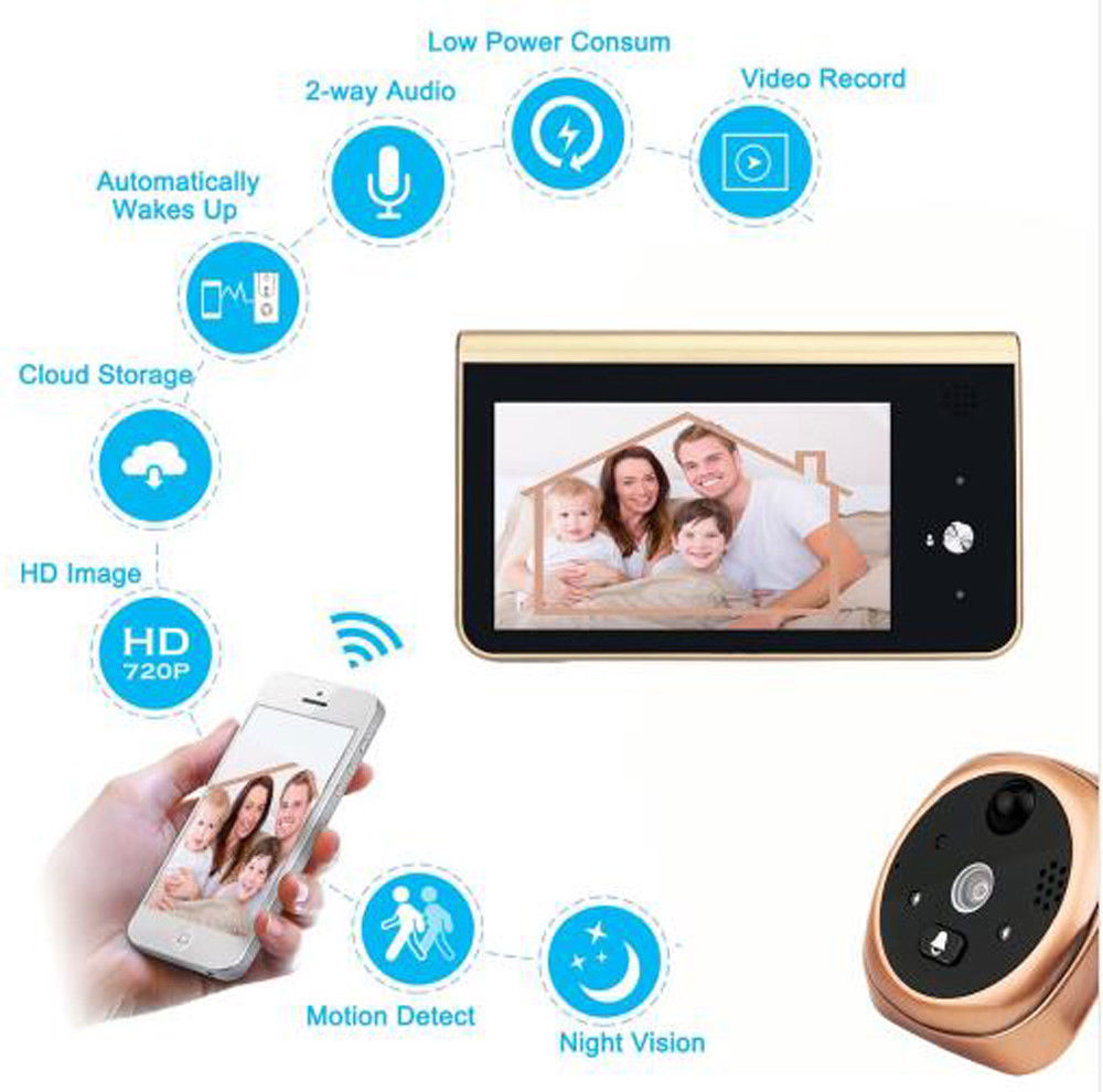 Peephole Camera Wifi 4.3 Inch Monitor Smart Video Doorbell HD720P Night Vision PIR Motion Detection APP Control For IOS&Andriod
