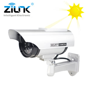 ZILNK Solar Fake Dummy Camera Bullet Outdoor Waterproof Security Camera Indoor CCTV Surveillance With Flashing Red LED Wholesale