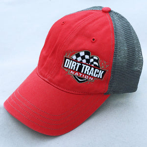 Dirt Track Nation Red w/ Grey Mesh Slouch Hat