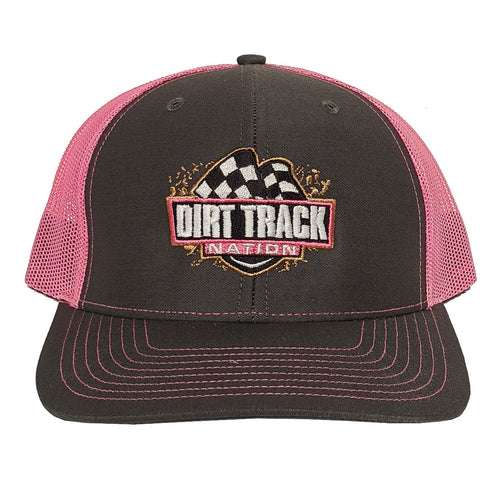 Dirt Track Nation Grey w/Pink Mesh Hat