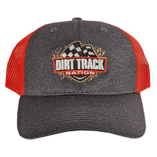 Load image into Gallery viewer, Dirt Track Nation Grey w/ Red Mesh Hat