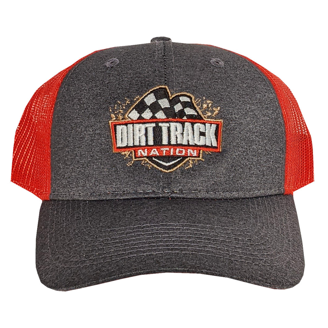 Dirt Track Nation Grey w/ Red Mesh Hat