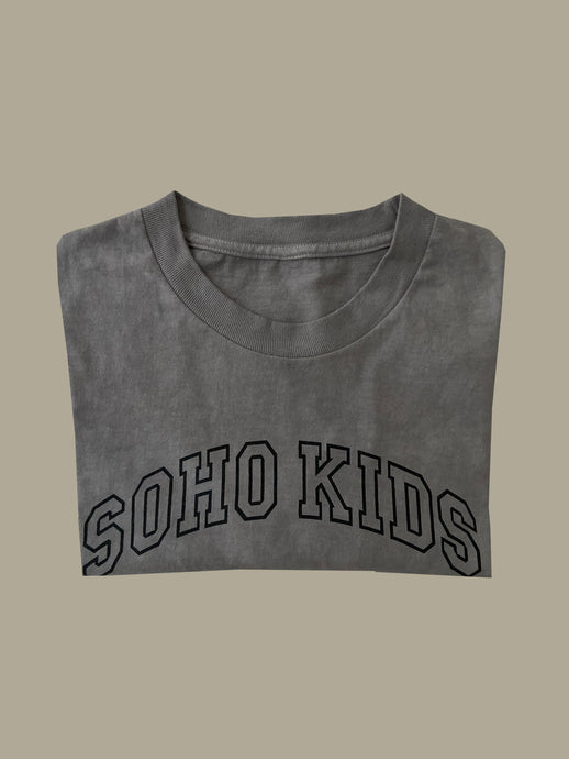 Hand-Dyed Grey Soho Kids Arch Logo Tee