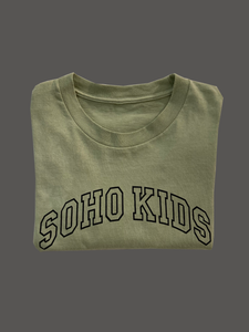 Hand-Dyed Olive Green Soho Kids Arch Logo Tee