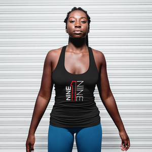 Women's 919 racerback tank in black.  919Brand has Raleigh, Durham, Chapel Hill based apparel.