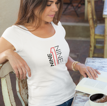 919 women's cut t-shirt in white.  919Brand has Raleigh, Durham, Chapel Hill based apparel.