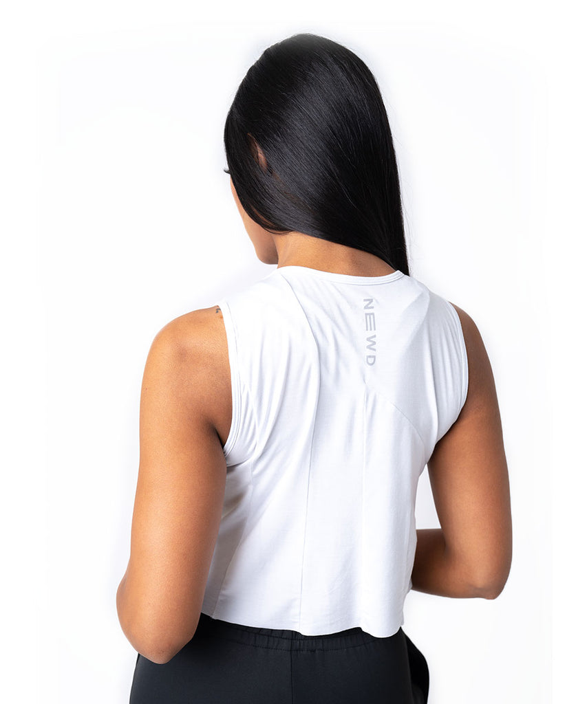 RAW CROP TANK WHITE