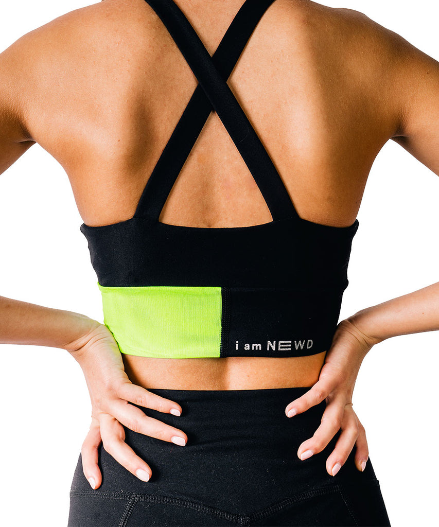 FLASH SPORTS BRA BLACK/GREEN