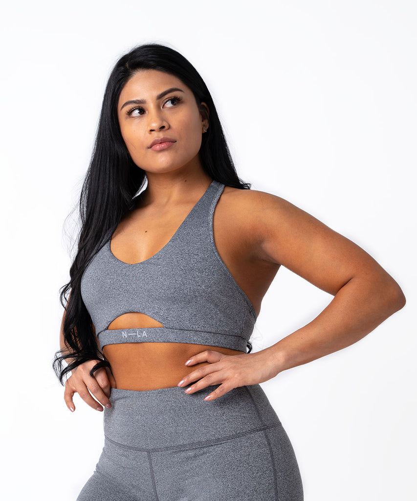 N3 SPORTS BRA HEATHER GREY