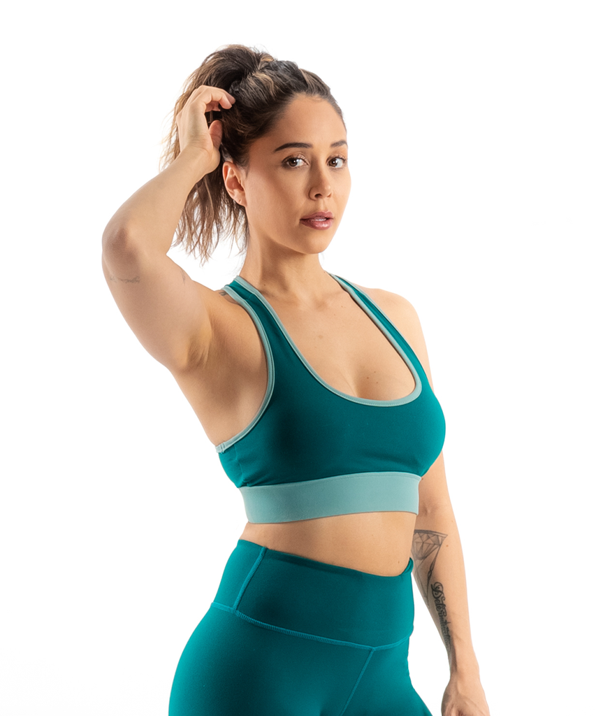 N5 SPORTS BRA TEAL/SAGE GREEN