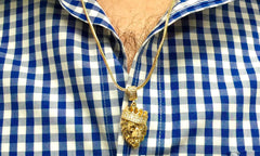 18K Gold-Plated Lion Head Pendant with Chain Necklace