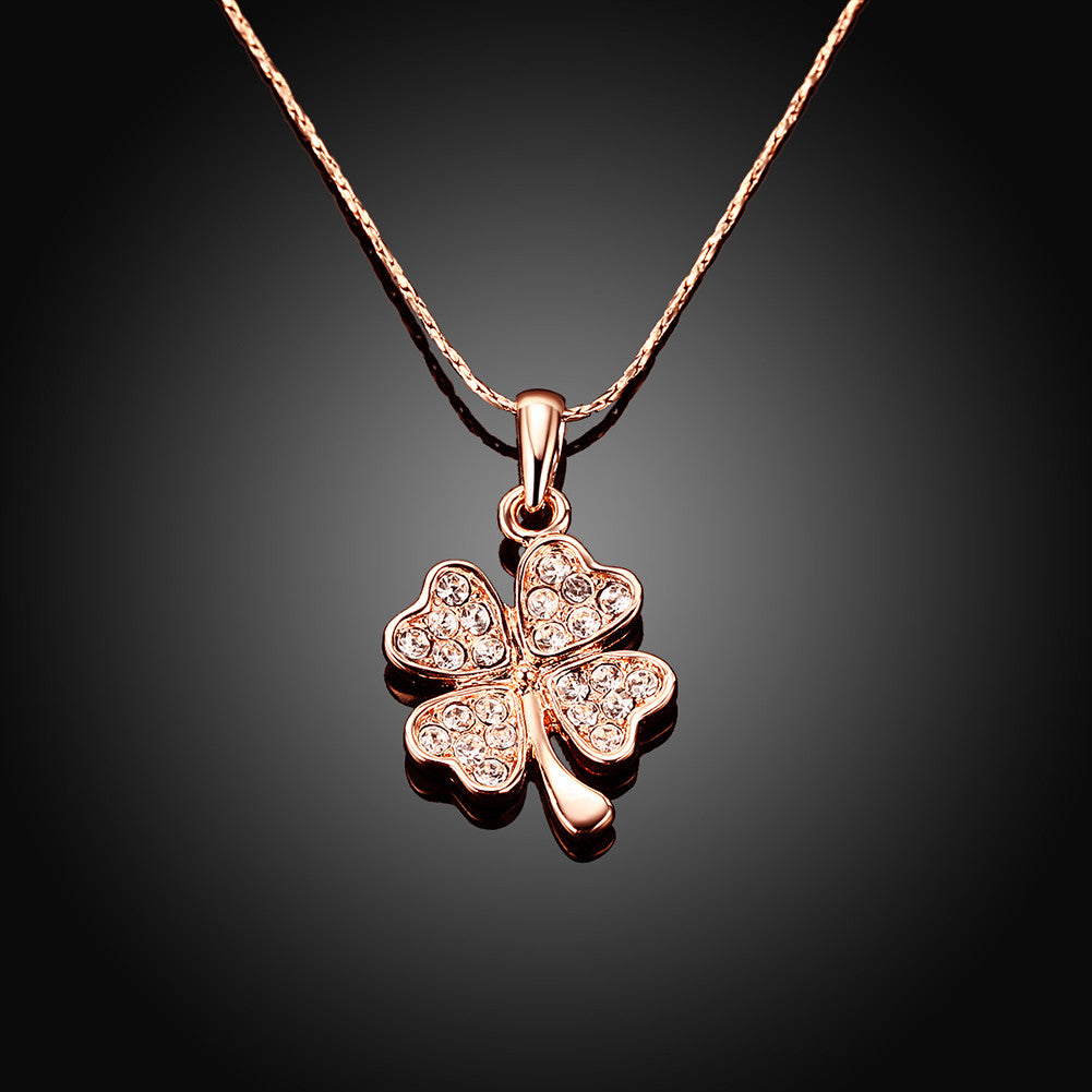 Gold Plated Petite Clover Necklace with Crystal Inlay