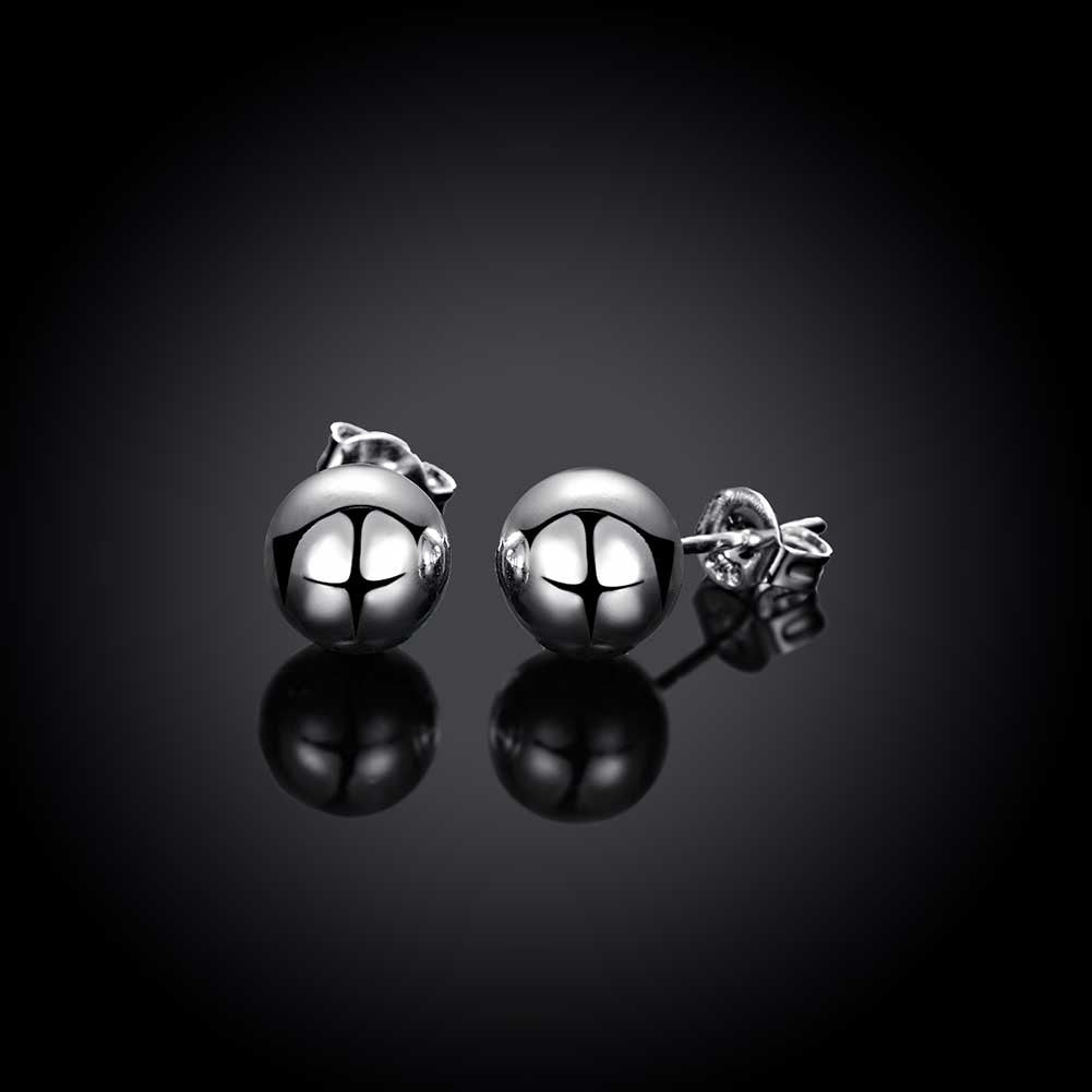18K White Gold Pearl Ball Stud Earrings