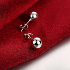 Ball Stud Pearl Earring in White Gold Plated