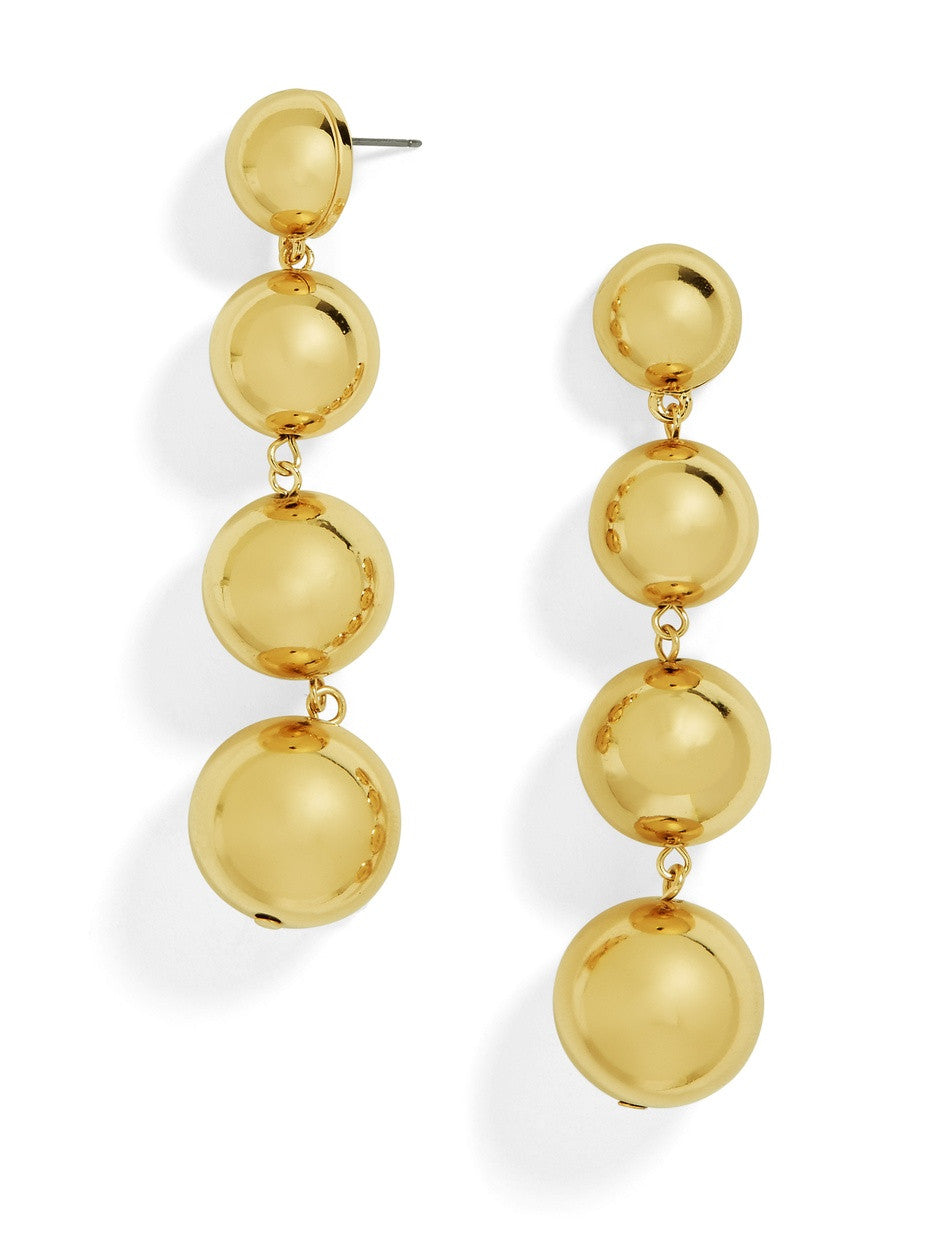 18K Gold Plated 4 Ball Drop Earring