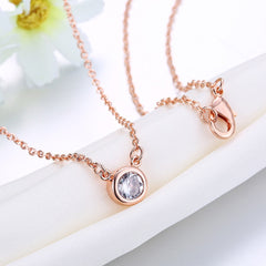 Swarovski Crystal 18K Rose Plated Bezel Necklace