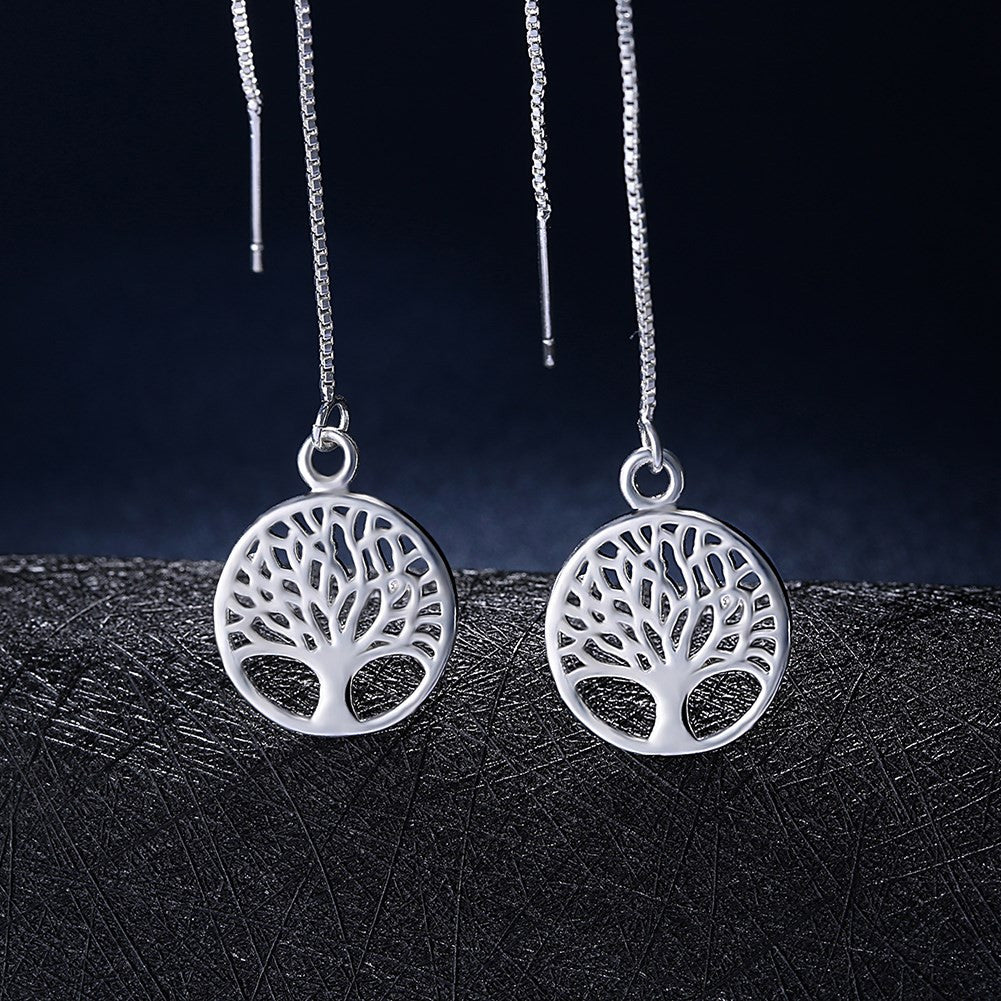Tree of Life Threader Earring in White Gold Plated