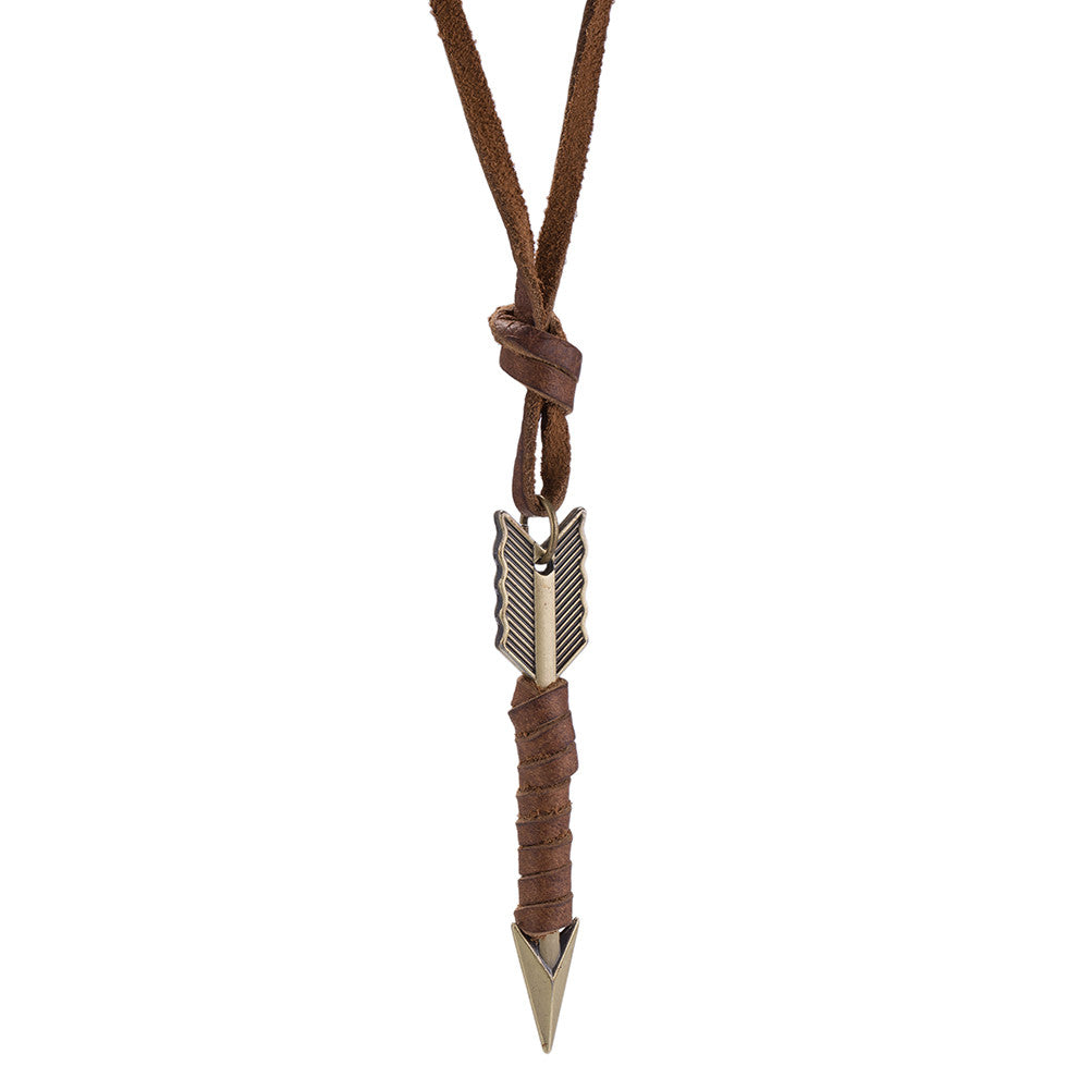Mens Necklace in Stainless Steel Arrow wrapped in Vegan Leather