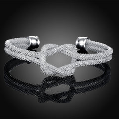 White Gold Plated Love Knot Mesh Bangle