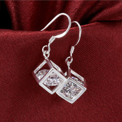 Swarovski Crystal Rubix Cube Drop Earring in White Gold Plated