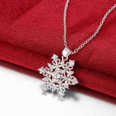 Swarovski Crystal Snowflake Necklace in 18K White Gold Plated