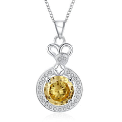 Swarovski Crystal Citrine 1.5 CTTW Necklace in 18K White Gold Plated