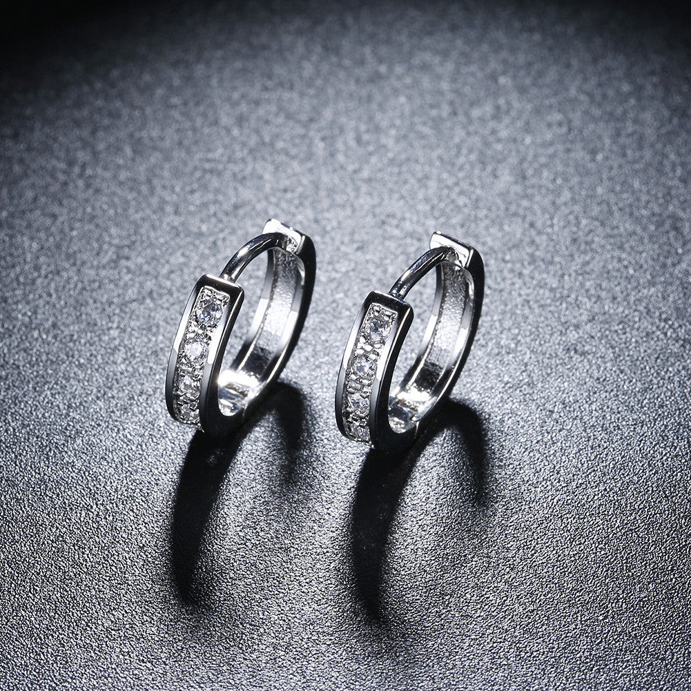 18K White Gold Plated Huggies Clip Earrings