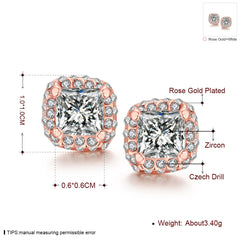 White Topaz Diamond Simulated Studs 18K Rose Gold