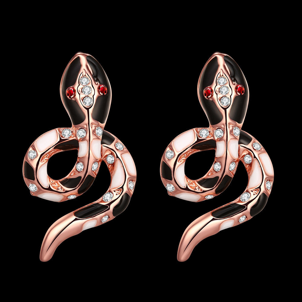 18K Rose Gold Plated Snake Studs