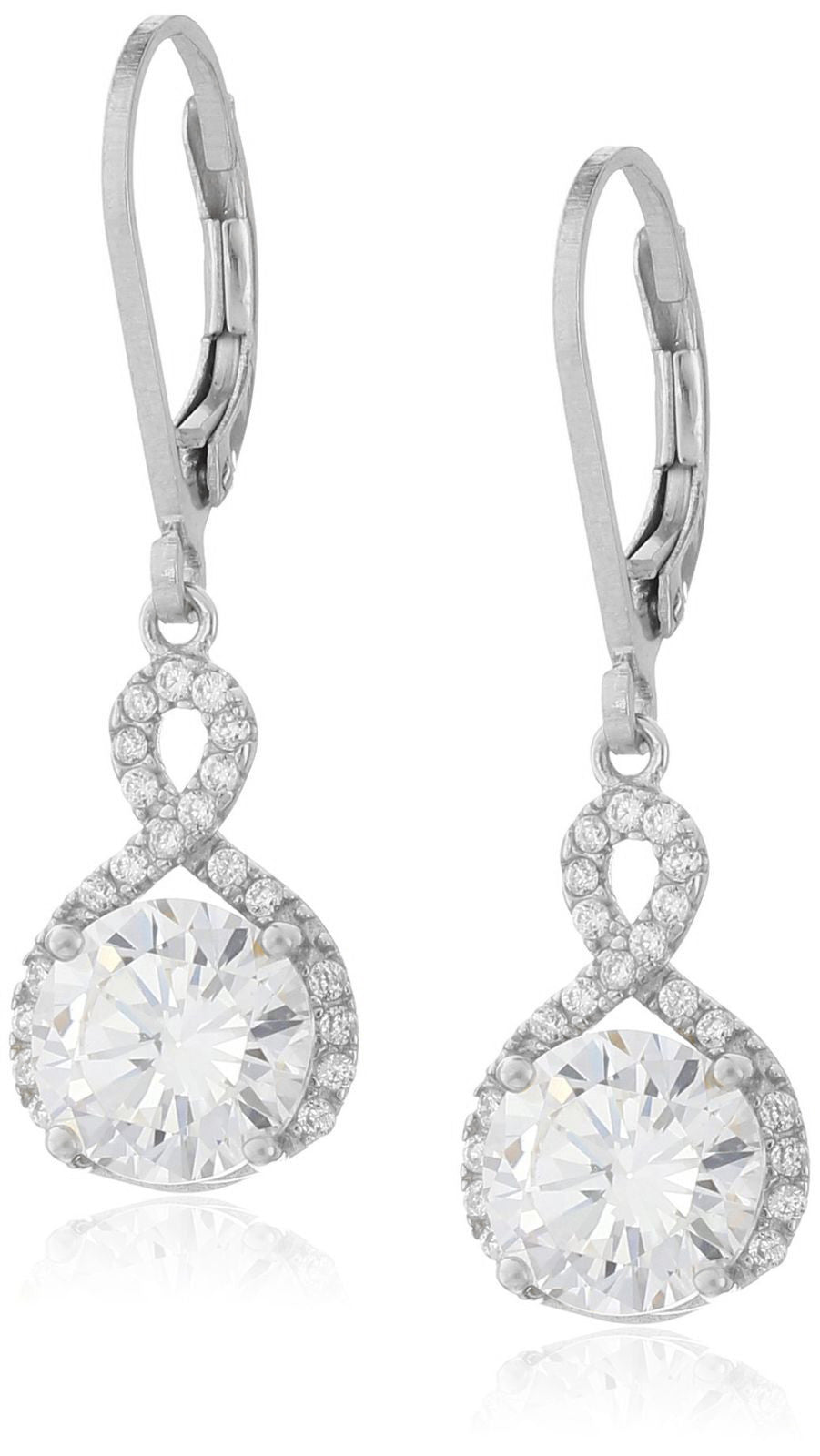 Swarovski Infinity Crystal Drop Earrings - Silver Gold