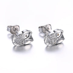 18K White Gold Plated Owl Studded Earrings