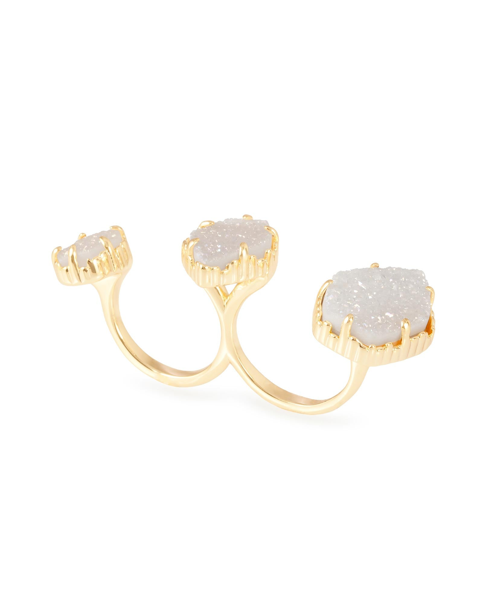 Gold Plated Plated with White Druzy Stone Knuckle Ring