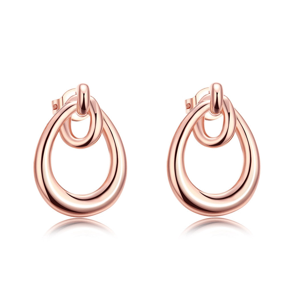 18K Rose Gold Plated Double Hoop Studded Earrings