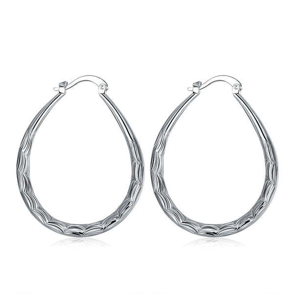18K White Gold Plated Modern & Abstract Hoop Earring