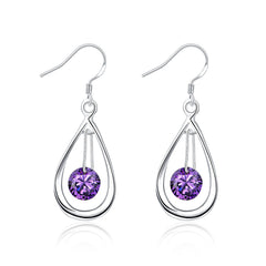 18K White Gold Plated Purple Citrine Circular Drop Earring