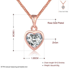 18K Rose Gold Plated Pure White Heart Necklace