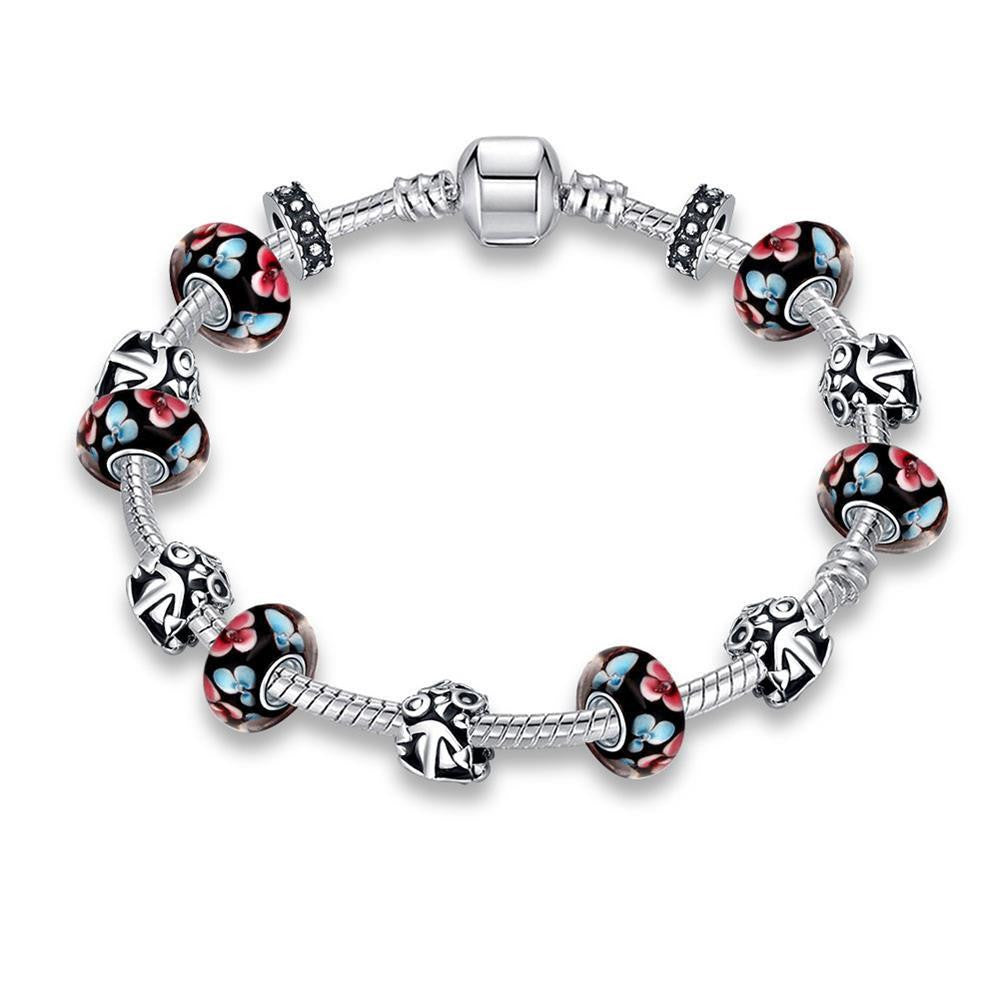 Retro Flower Print Pandora Inspired Bracelet Made with Swarovski Elements