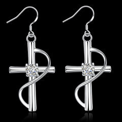 18K White Gold Plated Abstract Curved Cross Earring