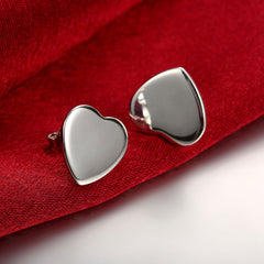 18K White Gold Plated Clean Cut Heart Shaped Studs