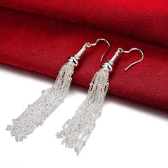 18K White Gold Plated Drop Linear Drop Earring