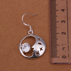 18K White Gold Plated Good Night World Earring