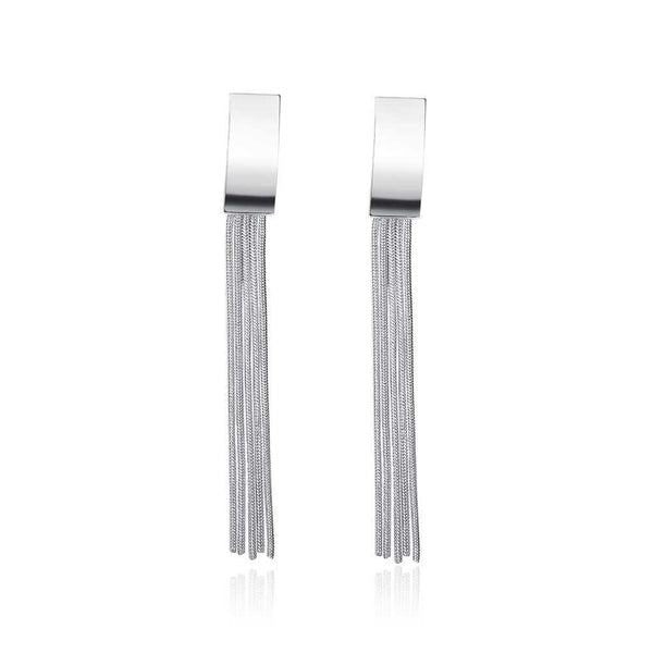 18K White Gold Plated Drop Wire Plate Earring